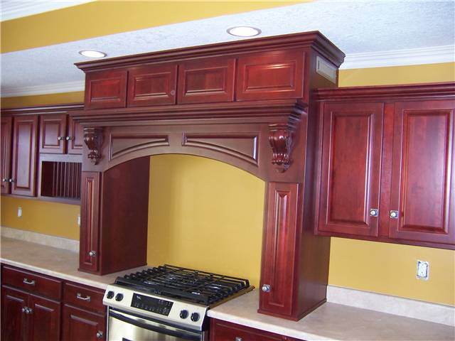 Wood cooking enclosure with an exhaust hood
