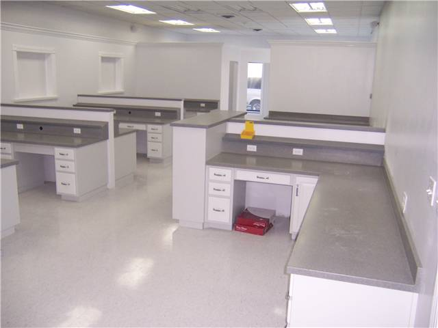 Painted cabinets with solid surface countertops for a dental lab office.
