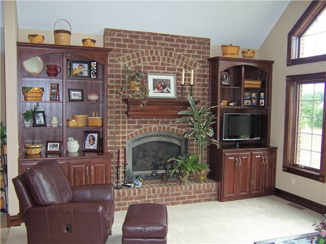 Bookshelves/Fireplace Mantel/Storage - Stained hickory