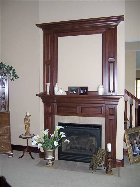 Fireplace mantel - stained hickory