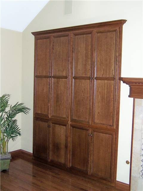 Built-in media storage - stained cherry