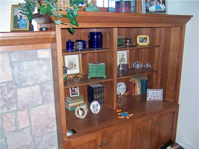 Hickory bookshelves/storage