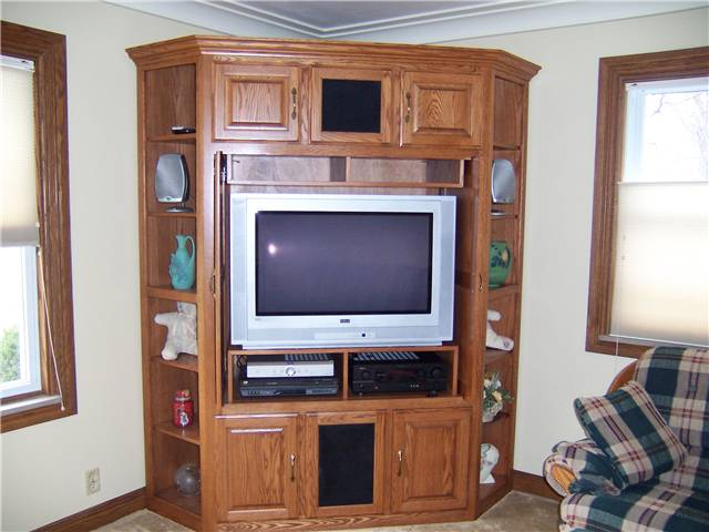 Entertainment center/Display - stained oak