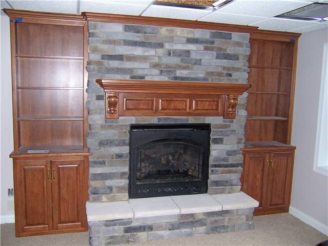 Bookshelves/Storage/Mantel - stained oak