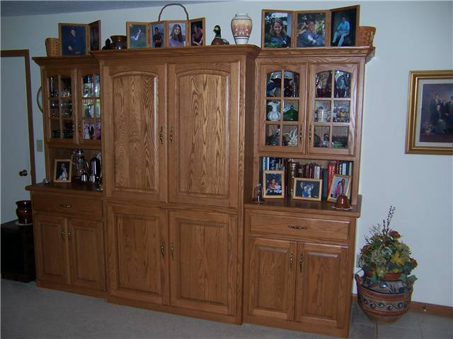 Entertainment center/China cabinet/storage - stained oak