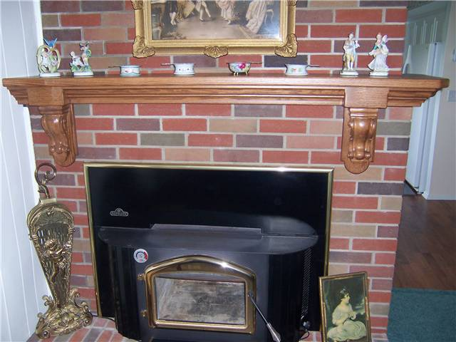 Fireplace mantel - stained oak