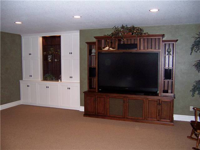 Home theater - hickory stained & glazed / Storage & bookshelves - painted