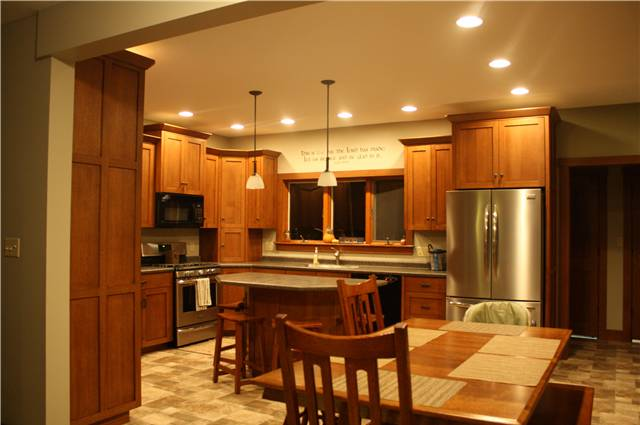 Quartersawn white oaks - full overlay style with flat panel doors - laminate countertops
