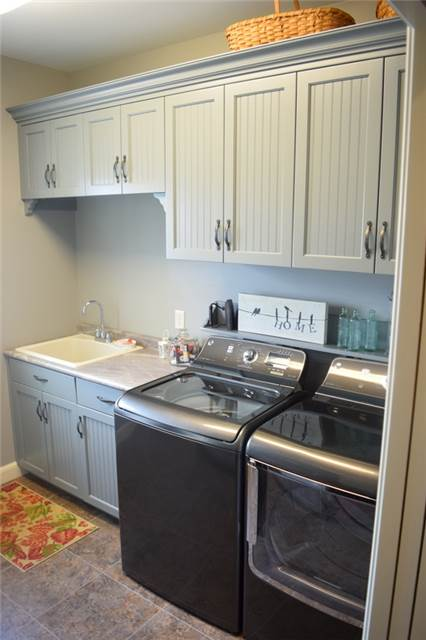 Painted cabinets with bead board doors - full overlay style
