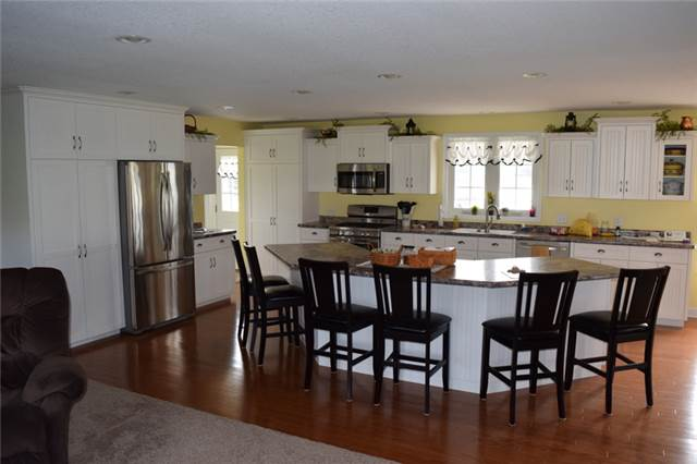 Painted cabinets with flat panel doors - full overlay style - laminate countertops