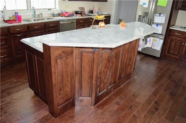 Rustic hickory with dark stain - Quartz countertops