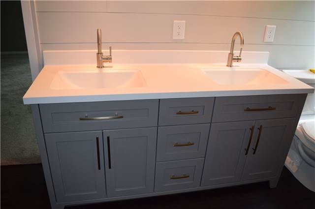 Painted cabinet - cultured marble countertop