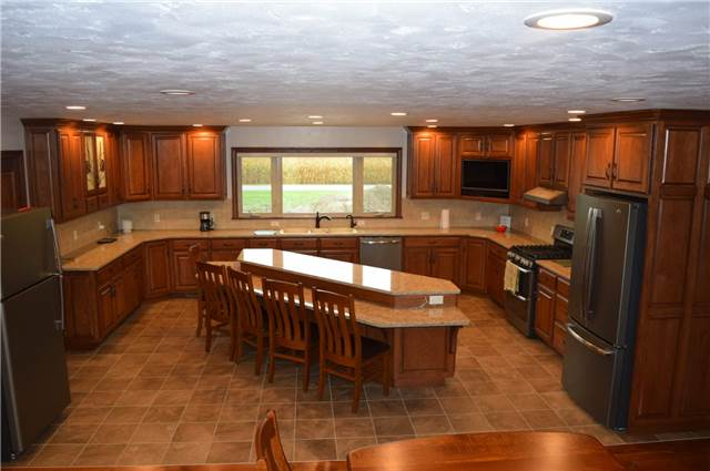 Medium stained hickory cabinets - Quartz countertops