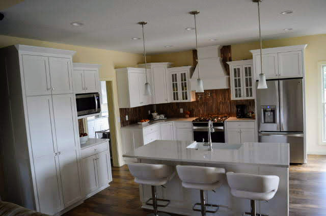 Painted cabinets - flat panel - full overlay - Cambria quartz countertops