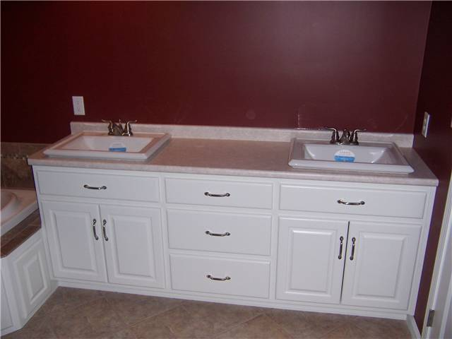 Painted cabinet - Raised panel doors - Standard overlay style - Laminate countertop with drop-in sinks