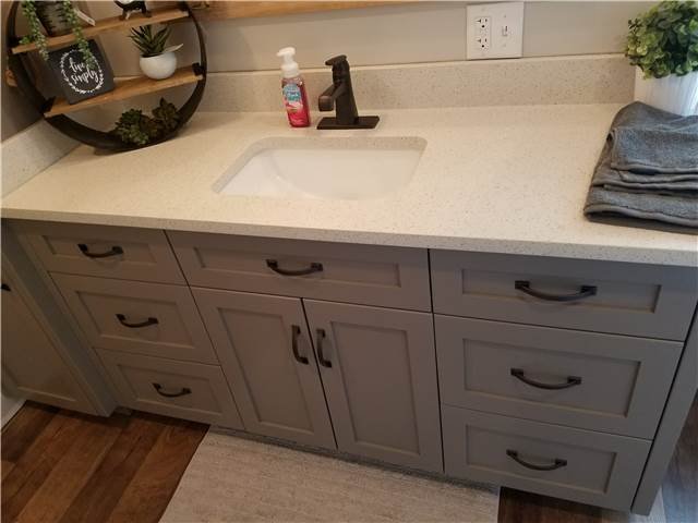 Painted cabinet with flat panel doors and drawer fronts - full overlay style - Quartz countertop