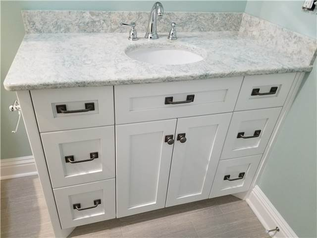 Painted cabinet with20170730_085404.jpg flat panel doors and drawer fronts - full overlay style - Quartz countertop