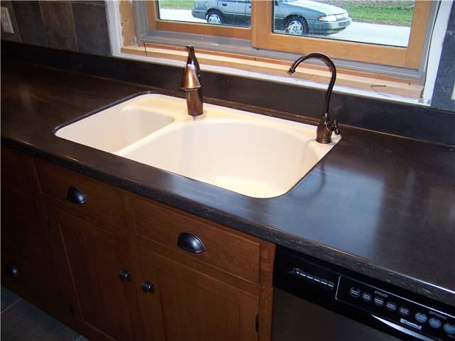 Countertop styles materials ds woods custom cabinets for Corian farm sink price