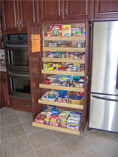 Pantry cabinet with pull-out shelves