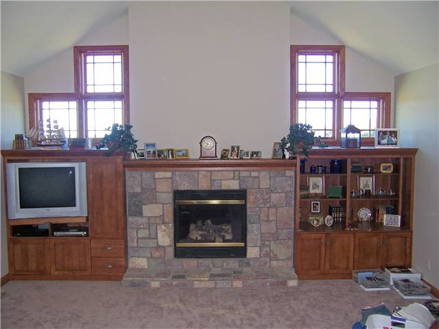 Fireplace mantel/Bookshelves/TV/Storage - stained hickory