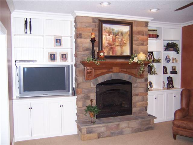 Bookshelves/TV/Storage/Fireplace mantel - painted & stained