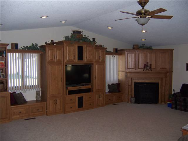 Home theater/fireplace enclosure/mantel - stained oak