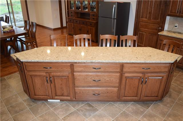Medium stained hickory island - Quartz countertop