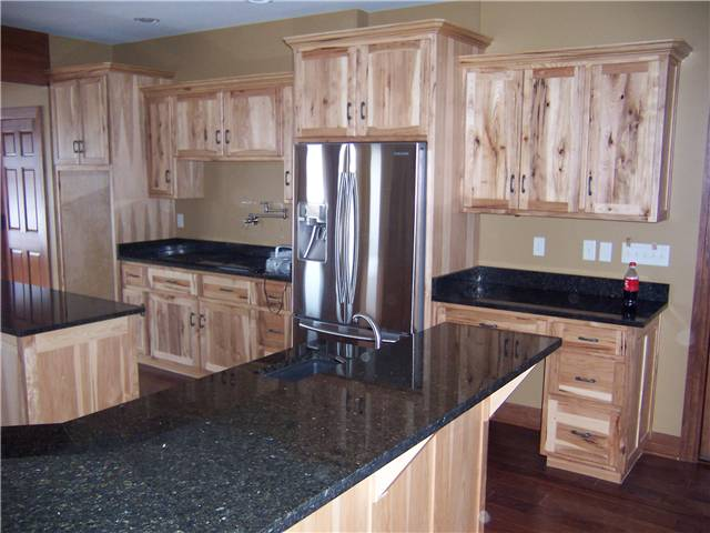 rustic hickory cabinets flat panel doors standard overlay style granite countertops