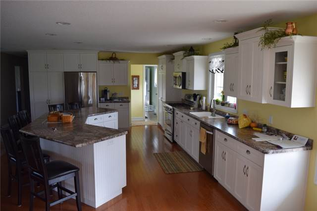 Painted cabinets with flat panel beadboard doors - full overlay style - laminate countertops