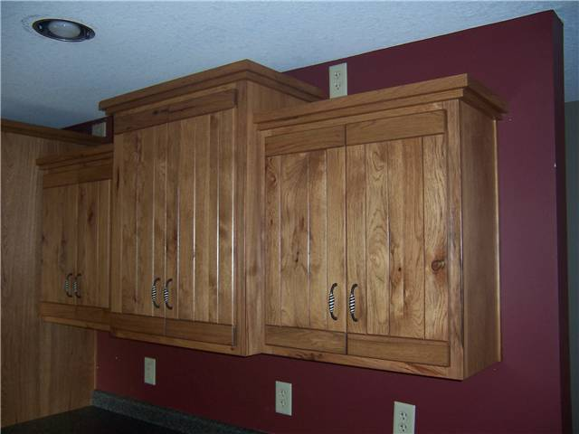 Rustic hickory wood with medium brown stain
